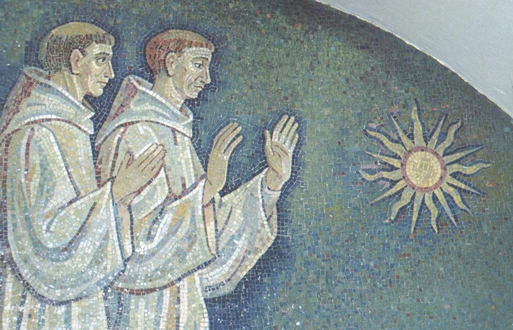 Singh, 116:A mosaic after Achilli, showing Irish monks raising hands in the ancient Egyptian manner of paying homage to the sun. Cave-chapel of St. Columbanus, St. Peter's Basilica, Vatican City.